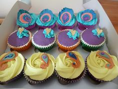 Cupcakes were all vanilla or chocolate based with an exotic fruit filling - raspberry, strawberry or mango. The colours and design were inspired by peacock feathers. Peacock Cupcakes, Giant Cupcakes, Peacock Theme, Peacock Wedding, Wedding Book, Wedding Ideas, Bollywood Wedding, Exotic Fruit, Peacocks