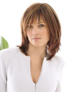 """Infatuation With razor tapered bangs that blend into long razor-cut layers in the sides and back, this precision crafted collarbone length cut reflects a popular trend offered in today's top salons. A Sheer Indulgence™ top adds lightness and styling versatility. Shown in: R3329S – Glazed Auburn Suitable for: Oval, Round, Diamond, Heart and Oblong shaped faces. Type: Synthetic Head Size: Average Hair Lengths: Front – 4"""", Crown – 8"""", Sides – 7"""", Back – 8"""", Nape – 7"""" @ joycotton"""