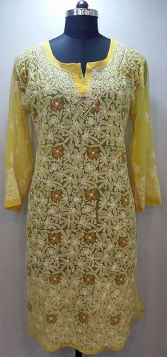 Lucknow Chikan Online allover Kurti Yellow Faux Georgette with very fine murri, shadow & kangan work on both front & back with designer neckline  $41