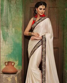 Buy Handsome Off White Party Wear Saree online at $91.88 [APRC77010]