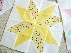 yellow 8-point star quilt block