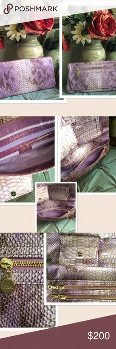 """🆕 NWOT Abas Snake Skin Clutch Purse 🆕 Abas Snake skin Clutch. Fold Over feature with snap button closure. Hold toned zippers and pulls. One section at the top has compartments for credit card and ID, at the bottom 2 zipper compartments and above one large compartment. The top of the clutch opens up like the opening of a handbag inside has one zipper compartment with signature logo and fully lined in lavender. Measures: 11.5"""" W X 6""""L folded, opened 11.5"""" W X 11"""" L. 🆕 without tag. Abas Bags…"""