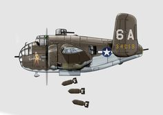 The 489th Bombardment Squadron in Corsica B-25 'Sahara Sue II.' B-25 J Still trying to find out who the artist is.