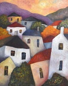 Valley Houses and Trees by Jeremy Mayes Buildings Artwork, Doodle Drawing, Art Fantaisiste, Naive Art, Art Abstrait, Whimsical Art, Urban Art, Painting Inspiration, Landscape Paintings