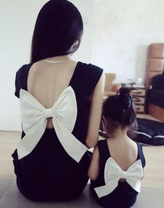 2015 Summer Family Look Matching Mother Daughter Girl Clothes Outfits Mom And Daughter Dress Bow Backless Black Dresses