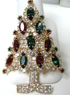 Eisenberg Signed Swarovski Rhinestone Color Christmas Tree Brooch Retired. A luxe Christmas!