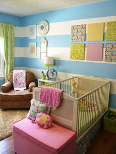 nursery with navy painted stripes