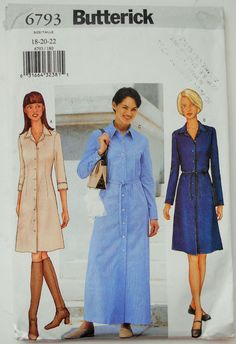 Butterick Sewing Pattern 6793 Misses' Shirt Dress in Size 18 22 | eBay