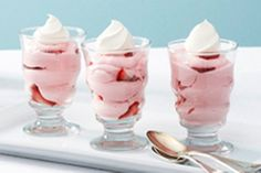 Smooth and sumptuous - and made with fresh fruit - this creamy strawberry mousse recipe takes just 15 minutes of prep before you pop it in the fridge. This dessert recipe is perfect for entertaining since it makes 10 servings and can be made ahead of time.