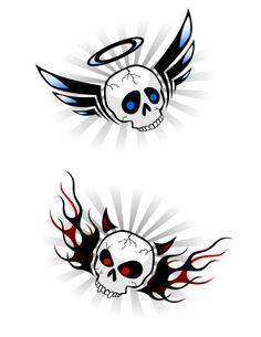 angel devil skull tattoos