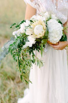 Protea and hydrangea bouquet