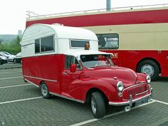 """Morris Minor with camper - Except for the fact that it's a Morris Minor this would totally rock. And if you have to ask """"What's wrong with a Morris?"""" You obviously don't watch enough Top Gear! Mini Camper, Camper Caravan, Truck Camper, Camper Van, Camper Life, Vintage Rv, Vintage Caravans, Vintage Travel Trailers, Vintage Campers"""