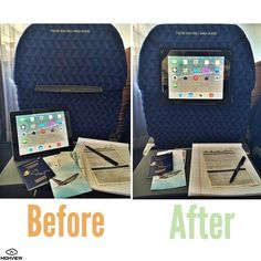 The HighView iPad hanger- before and after! Lets you hang your iPad in airplanes and cars. Each one gives clean water to children in need!