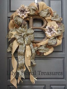 Custom Order Burlap Wreath with Initial by LilysFloralTreasures