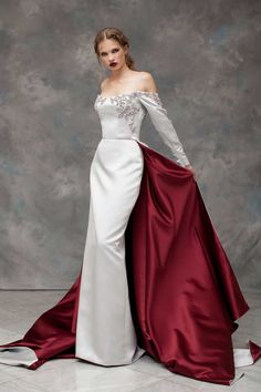 Rayane Bacha Fall/Winter Collection Off the Shoulder White Gown w/ Maroon Inner Colour Train Beautiful Gowns, Beautiful Outfits, Evening Dresses, Formal Dresses, Wedding Dresses, Fantasy Dress, Couture Dresses, Dream Dress, Look Fashion