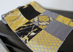 Aviary Damask Patchwork Quilt Backed With Minky