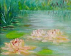 Water Lilies Oil Painting #OilPaintingWater
