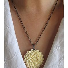Dahlia Flower Antique Brass Necklaces