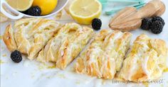 This flaky LEMON CREAM CHEESE DANISH is an easy breakfast or brunch recipe made with puff pastry and filled with a creamy, sweet and tart filling! Brunch Recipes, Sweet Recipes, Whole Food Recipes, Breakfast Recipes, Dessert Recipes, Desserts, Cake Ingredients, Fish Recipes, Gourmet