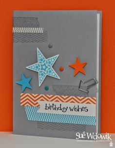 April 2014 Card Class featuring Stampin' Up! Simple Stars and Tape It stamp sets
