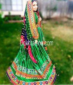 #green #afghan #style #dress