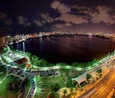 Brazil night aerial view