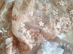 its-mademoiselle-love:graceful lace trim pale pink embroidery lace trim