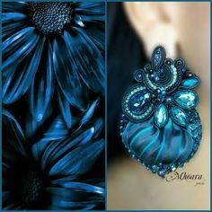 ' Black & Midnight Blue ' shibori silk earrings by Mhoara