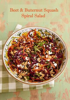 Spiralized Beet & Squash Noodle Salad With Kale, Walnuts, & Goat Cheese Crumbles   Recipe Rebuild