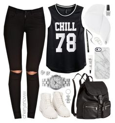 """Black and white sporty swag outfit"" by cherrysnoww ❤ liked on Polyvore featuring BCBGeneration, ONLY, Nly Shoes, H&M, Marc by Marc Jacobs, Uncommon, Tory Burch, tarte, philosophy and Harrods"
