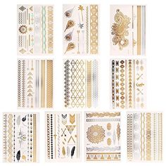Novias Shimmer Design Metallic Temporary Tattoos Flash Tattoos Henna Fake Jewelry Tattoos(10 Sheets) *** Click image to review more details. (This is an affiliate link) #HennaBodyPaint