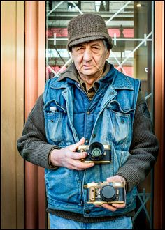 Vladimir Panasenko and his Leica M2 cameras out on Market Street, San Francisco