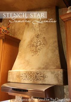 The incredible work of Sandra Quintas from Artistic Walls by Sandra. Her artistic plaster and stencil finish on this range hood includes our Micah and Elegancia stencils - Gorgeous! www.RoyalDesignStudio.com