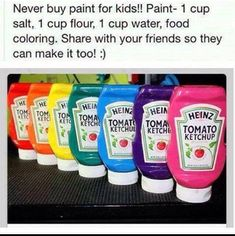 Make Your Own Paint 1 Cup Water1 Cup Flour 1 Cup Salt  Food Colouring undefined #Trusper #Tip