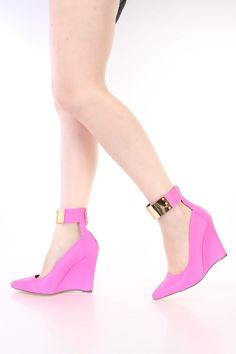 Pink Pointed Toe Single Sole Wedges Faux Leather
