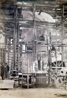 Statue of Liberty under construction.