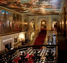 The Great Hall in Chatsworth House, Derbyshire, England.