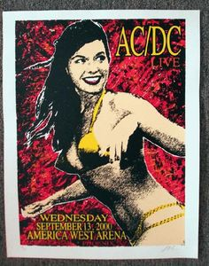 Original silkscreen concert poster for AC/DC at The America West Arena in Phoenix, AZ in 2000. Signed and numbered out of 195 by the artist Lindsey Kuhn. 17 x 23 inches