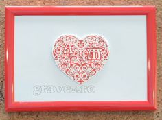 Valentine`s day (Dragobete) gift - laser engraved heart with initaials/monogram in photo frame