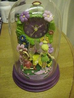 DISNEY TINKER BELL FAIRIES FIGURINES DOME CLOCK MINT NO BOX NEVER USED 8.5