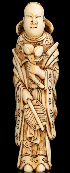 An Early Ivory Netsuke of Seiobo Sennin. This and more important Asian art for sale on CuratorsEye.com