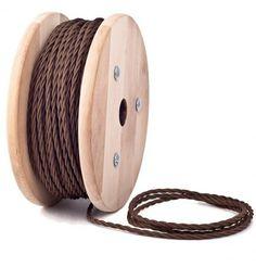 Marrón Cable Textil Trenzado