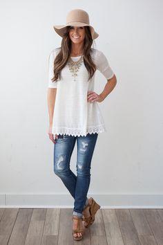 Magnolia Boutique Indianapolis - Crochet Trim Knit Tunic - Ivory, $36.00 (http://www.indiefashionboutique.com/crochet-trim-knit-tunic-ivory/)