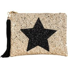 LISA BEA Glitter-star large pouch ($61) ❤ liked on Polyvore featuring beauty products, beauty accessories and bags & cases