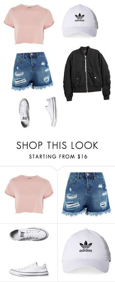 """Untitled #353"" by asmaalover ❤ liked on Polyvore featuring Topshop, Converse, adidas and H&M"