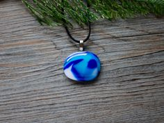Mixed Blue and White Fused Glass Puddle Pendant with Satin Necklace; Unique Glass Treasures by UniqueGlassTreasures on Etsy Fused Glass Jewelry, Glass Pendants, Bubble Wrap Envelopes, Organic Shapes, Blue And White, Colours, Layers, Strength, Surface