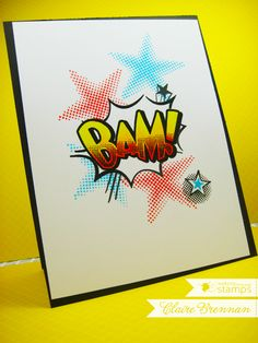 February 2015 NEW RELEASE Showcase Day 2! Card by Claire Brenna featuring Kaboom clear stamp set.  Shop here - http://www.waltzingmousestamps.com/     Waltzingmouse Stamps Blog - http://waltzingmouse.blogspot.ie/ #wms #waltzingmouse #superhero #kaboom
