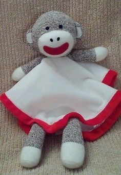 Paul Frank Baby Starters Lovey w Rattle Plush Security Blanket Toy Red White #paulfrank #lovey #plushtoy