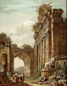 hadrian6: Architectural fantasy. Charles Louis Clerisseau. French. 1721-1820. oil on canvas.   http://hadrian6.tumblr.com