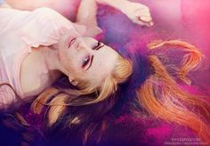 by Laura Norinkevičiūtė (www.laphotto.com) #water #swim #colors #pink #ginger #freckles #laying #portrait #glitters #female #blueeyes #face #natural #wild #magic #laphotto